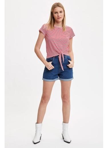 DeFacto Çizgi Detaylı Belden Bağlamalı Kısa Kollu T-Shirt Kırmızı